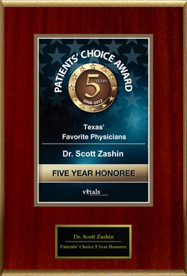 Dr. Scott Zashin of Dallas, TX is a Five-Time Patients' Choice Honoree.  (PRNewsFoto/American Registry)