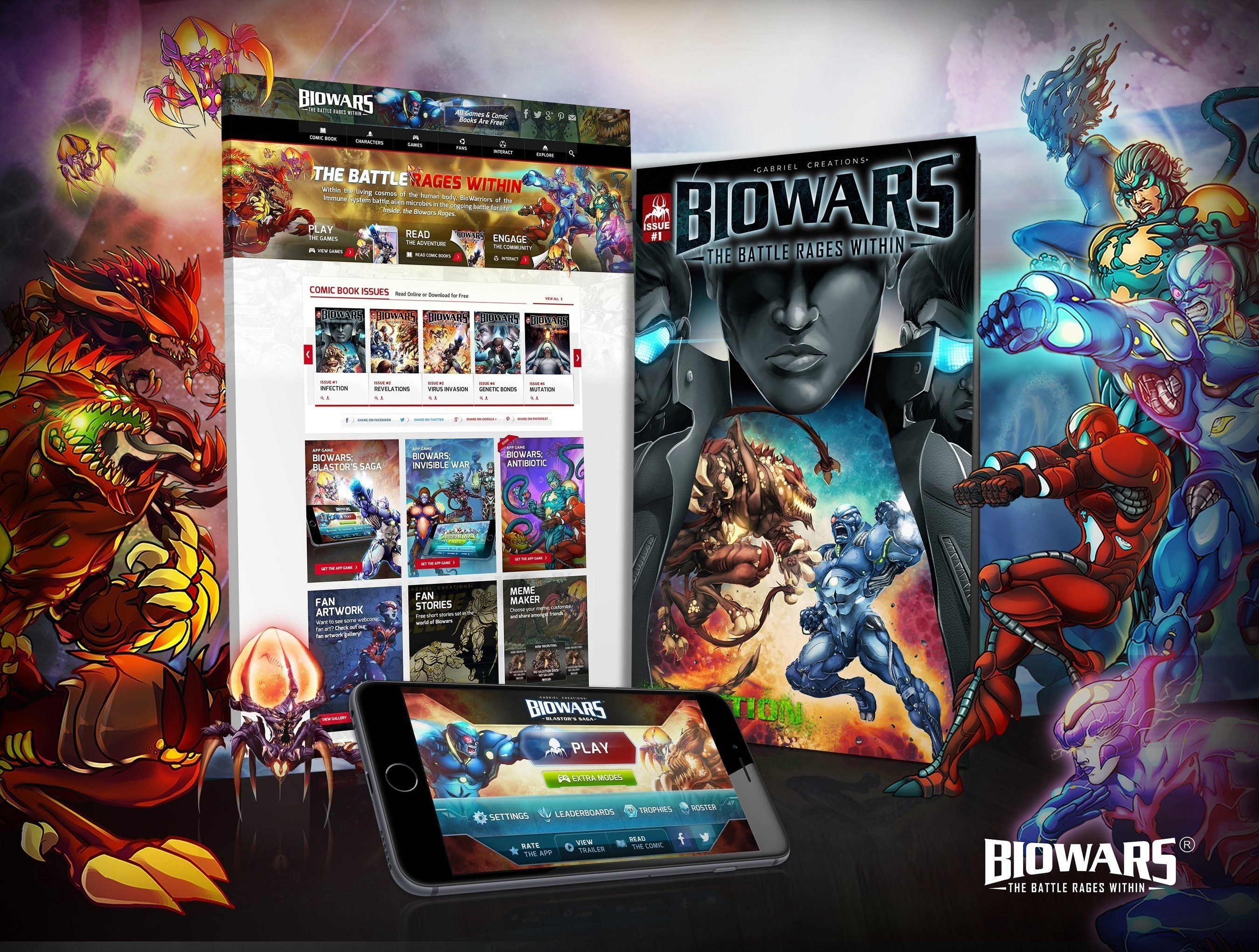 BIOWARS(TM) The Battle Rages Within is a gamified digital experience that dramatizes the warfare between the cells of the immune system and invading alien microbes.