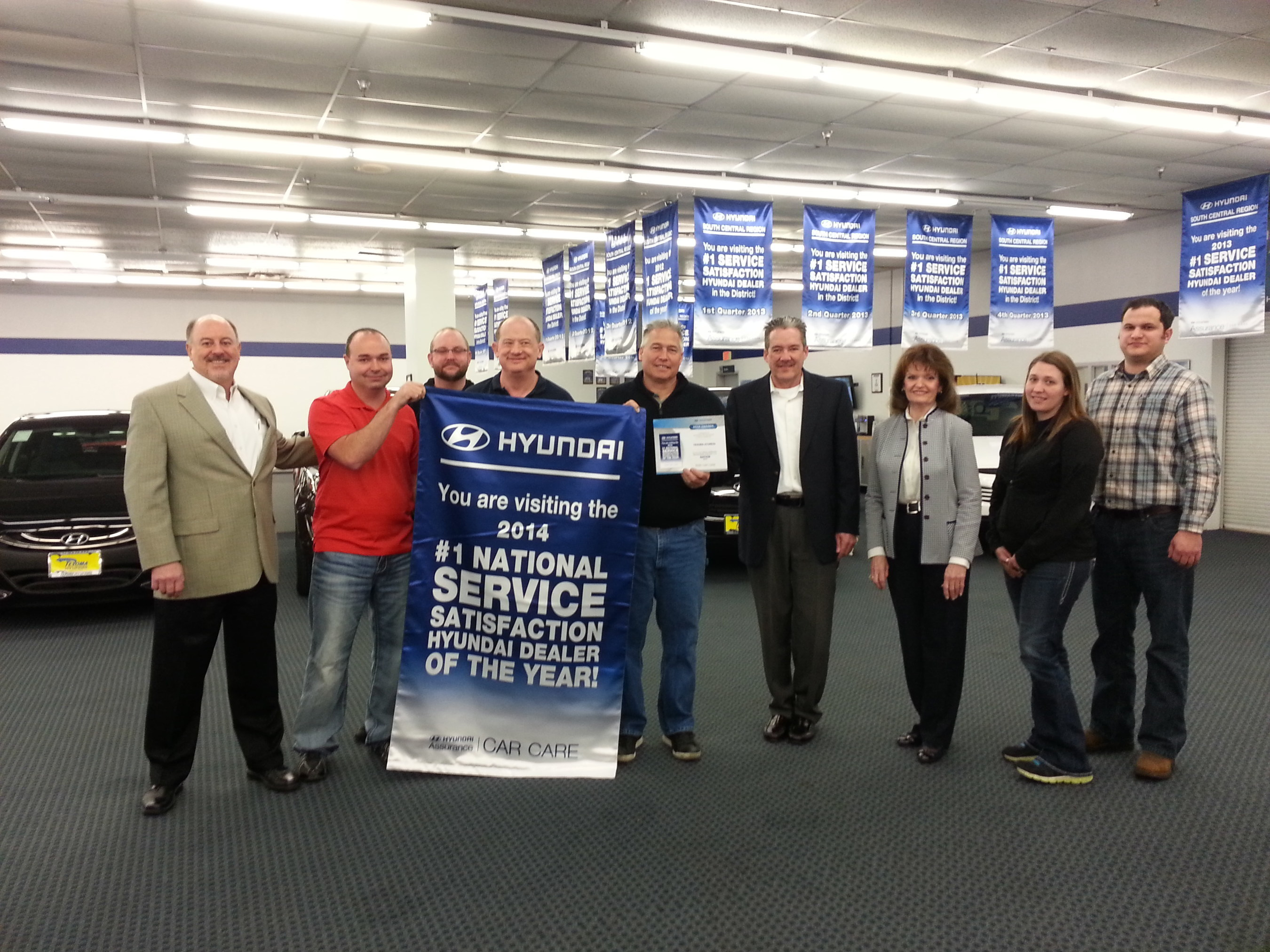 TEXOMA HYUNDAI LEADS IN SERVICE CUSTOMER SATISFACTION FOR THE SECOND YEAR IN A ROW