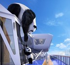 """One of the ultimate photo ops onboard Ovation of the Seas is """"Mama and Baby,"""" a larger-than-life commission designed by a U.K.-based artist Jo Smith. Perched atop the SeaPlex on deck 15, the piece depicts a mother panda and her cub, reaching out to one another."""