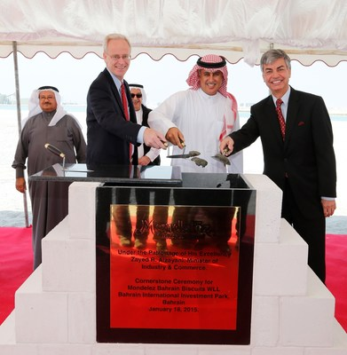 Mondelez International Lays Cornerstone for Construction of $90 Million Biscuit Plant in Bahrain - US Ambassador to Bahrain, William Roebuck; Bahrain's Minister of Industry & Commerce, Zayed R. Alzayani; Mondelez International's Executive Vice President, Integrated Supply Chain, Daniel Myers.