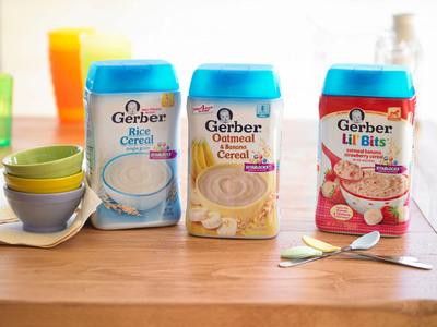Gerber(R) Rice Cereal, Gerber(R) Oatmeal and Banana Cereal and Gerber(R) Lil' Bits(R) Oatmeal Banana Strawberry Cereal  (PRNewsFoto/Gerber)