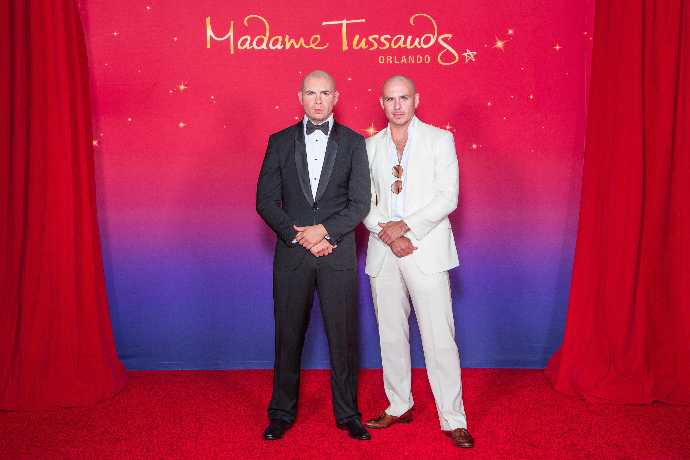 International superstar Pitbull, also known as Mr. Worldwide, meets his brand new figure for Madame Tussauds Orlando in Orlando, Fla.