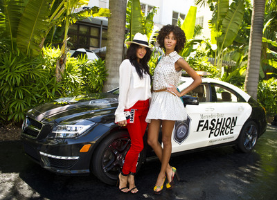 FASHION FORCE SPOTS TWO OF MIAMI'S MOST STYLISH OUTSIDE THE RALEIGH, HOME OF MERCEDES-BENZ FASHION WEEK SWIM.  (PRNewsFoto/Mercedes-Benz USA)