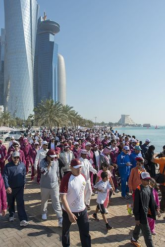 QATAR NATIONAL SPORT DAY 2014: Thousands Flock to Corniche for National Sport Day (PRNewsFoto/Qatar Olympic Committee)
