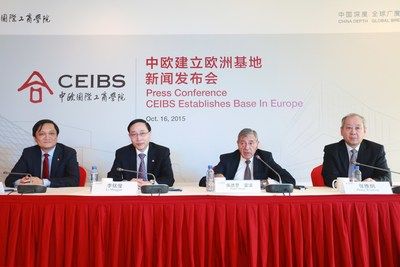 CEIBS school leaders during a press conference, at their main campus in Shanghai, to announce that the school will use the newly-acquired Lorange Institute of Business in Zurich as CEIBS' base in Europe. From left: Vice President & Dean Professor Ding Yuan, Chinese President Professor Li Mingjun, European President Professor Pedro Nueno and Vice President & Co-Dean Professor Zhang Weijiong.