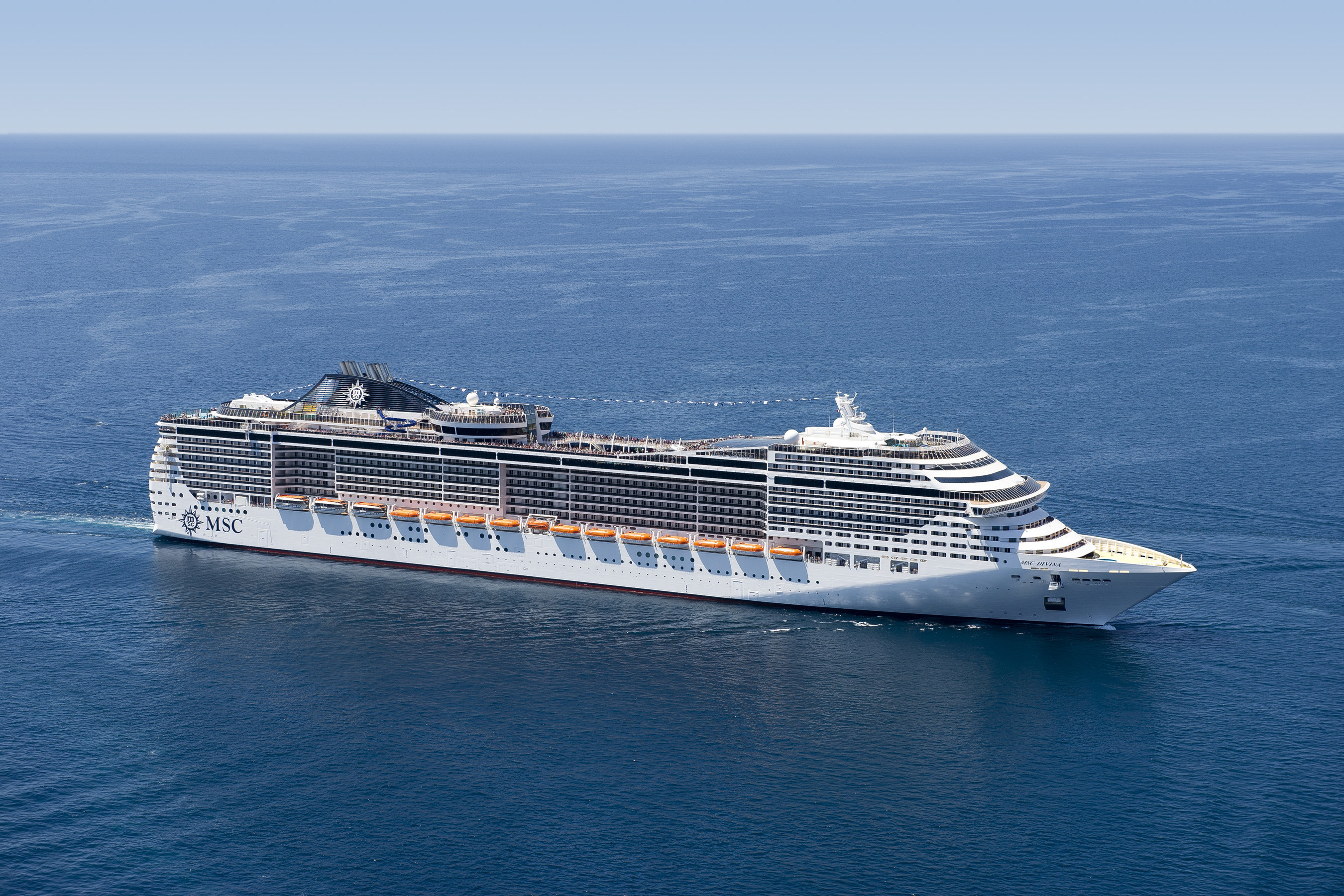 The beautiful and ultramodern MSC Divina sails year-round from Miami to the Caribbean