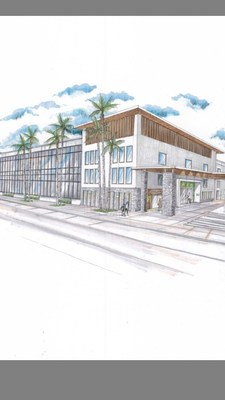 Exterior rendering of The Delaney Hotel and Delaney's Tavern located on Orange Avenue in the Downtown South neighborhood in Orlando, Florida.
