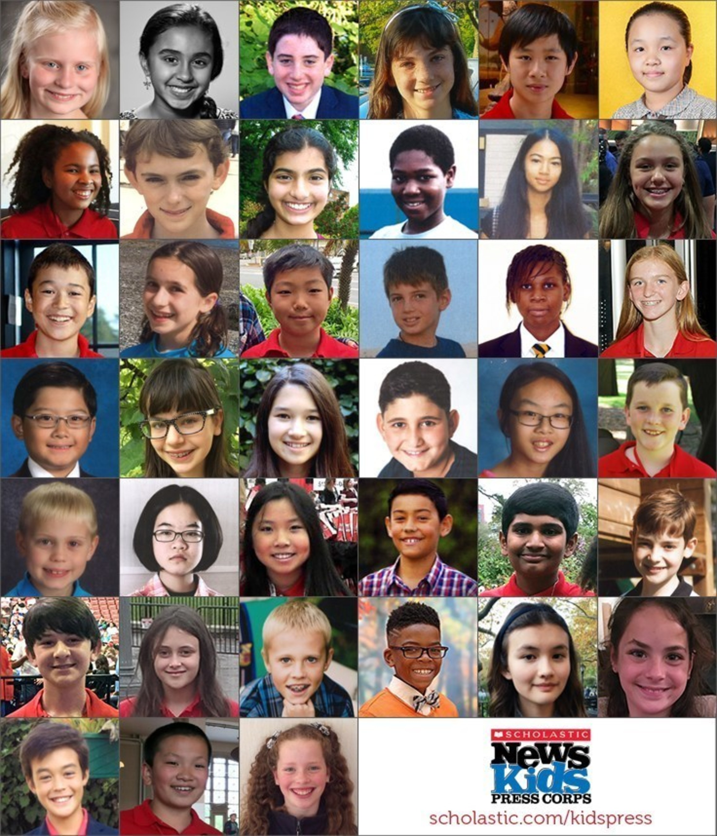 The new and returning Kid Reporters in the 2016-2017 Scholastic News Kids Press Corps.