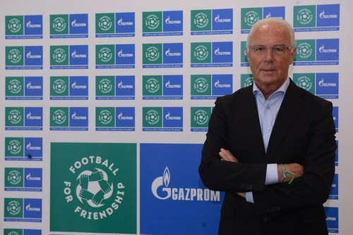Franz Beckenbauer, Global Ambassador of the F4F programme, at Moscow International Day of Football and Friendship event (PRNewsFoto/FOOTBALL FOR FRIENDSHIP)