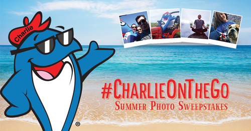 "Smile and say ""Charlie""...snap a selfie with StarKist or Charlie the Tuna and tag with #CharlieOnTheGo ..."