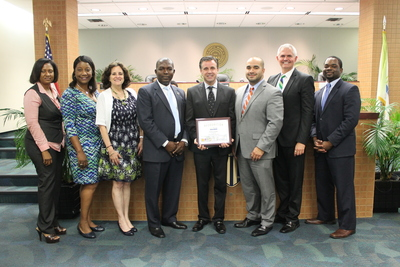City of North Miami Council Honors Sapoznik Insurance for National Employee Wellness Month as New Police Chief, Leonard Burgess, is Sworn In