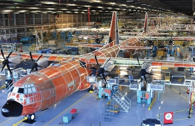Lockheed Martin Aeronautics' C-130J Super Hercules production line at the Marietta, Georgia facility. The C-130J incorporates state-of-the-art technology, which reduces labor requirements, lowers operating and support costs, and provides life cycle cost-savings over earlier C-130 models.