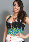 Jelly Belly jelly beans and Gummi Bears adorn a colorful corset dress by designer Lori Mueller; photo by Roxana Harag.