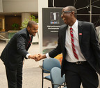 Clyde McNeil and Emeka N. Akpunonu of the University of Houston's C. T. Bauer College of Business celebrate being named first place winners of the 2012 Executive Leadership Council Business Case Competition. The competition sought proposals to strengthen corporate support of African-American non-profits. McNeil and Akpunonu will share a $35,000 scholarship award.  (PRNewsFoto/Executive Leadership Council)