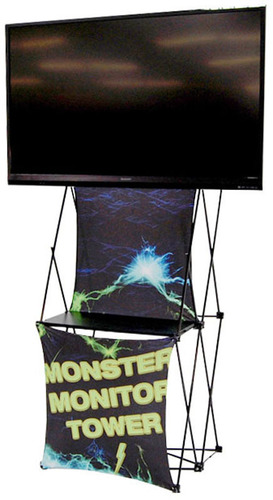 "Xpressions Display, the new Monster Mount, sets up in 1 minute, weighs 20 lbs, but holds up to a 55"" wide, 70lb, video monitor.  (PRNewsFoto/American Image Displays)"