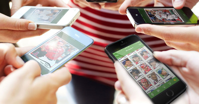 Digital baseball card collectors gather around their iPhones to trade on Topps BUNT 2014.