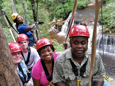 Veterans and their families explored Carver's Falls in Fayetteville during a Wounded Warrior Project trip to ZipQuest Waterfall and Treetop Adventure.