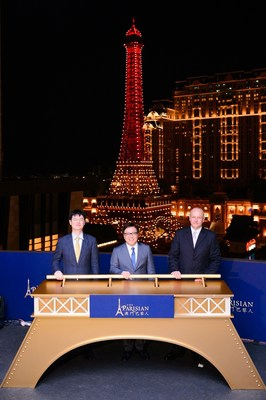 Dr. Wilfred Wong, President of Sands China Ltd., Grant Chum, Chief of Staff, Sands China Ltd. (Left) and Mark McWhinnie, Senior Vice President of Resort Operations and Development, Sands China Ltd. (Right) officiated at The Parisian Macao's exclusive Eiffel Tower illumination event June 23. The Parisian Macao is set to open in mid-September, 2016.