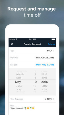 Employees can request and manage time off with Namely's new mobile HR app for iOS.