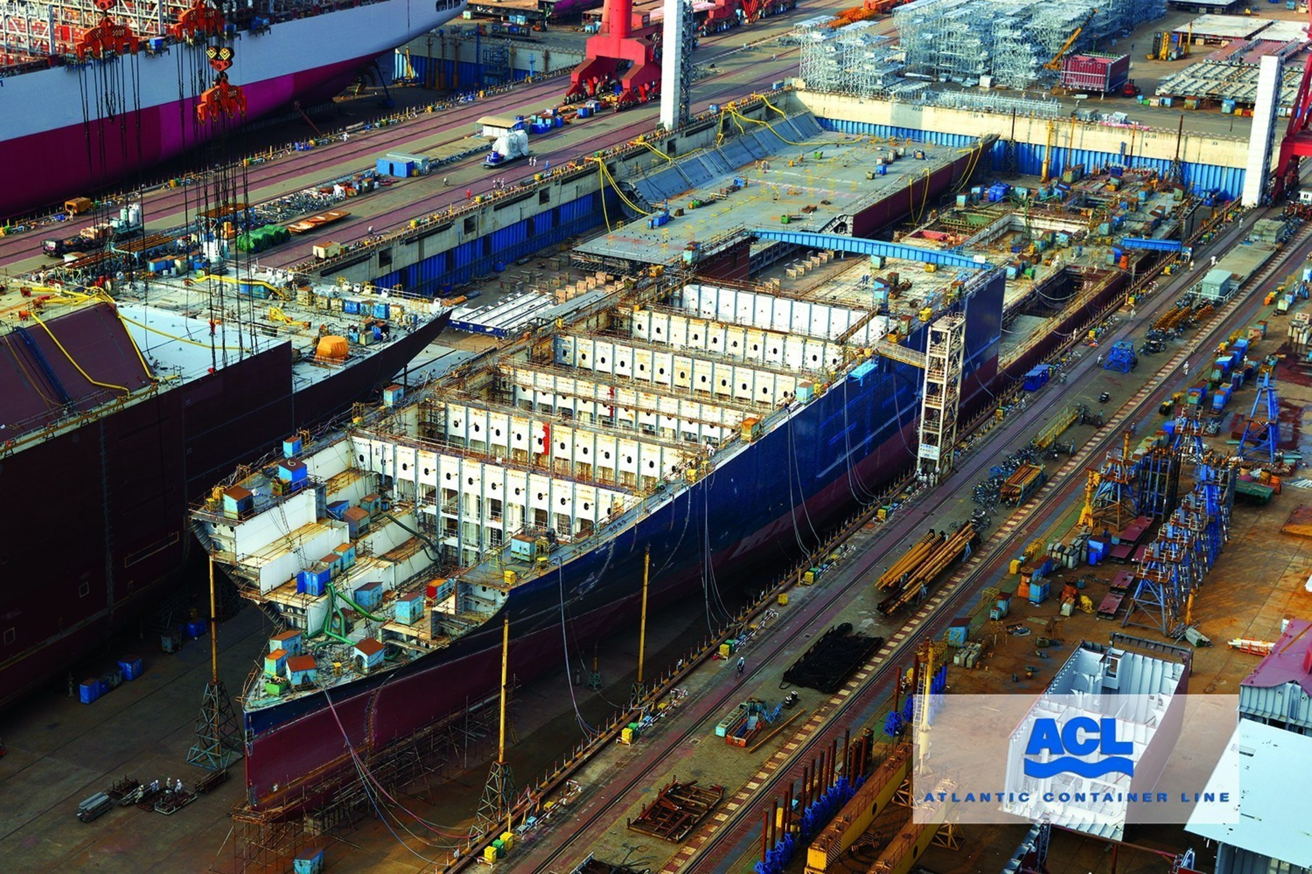 Construction is progressing on Atlantic Container Line's new G4 vessels, which will be the largest RORO/Containerships in the world. The new Generation 4 vessels will be bigger, faster, greener and more efficient than their predecessors. The G4's will have a container capacity of 3,800 TEUs plus 28,900 square meters of RORO space, with a car capacity of 1307 vehicles. The new ships will continue to employ cell-guides on deck, a feature that will allow ACL to extend its enviable record of never losing a...