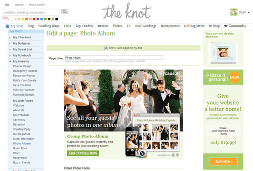 TheKnot.com Wedding Websites with Capsule.  (PRNewsFoto/TheKnot.com)