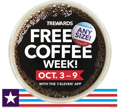 7-Eleven customers can enjoy a FREE cup of coffee every day during Free Coffee Week, Monday, Oct. 3, through Sunday, Oct. 9.