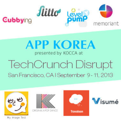 'App Korea' showcases 8 Promising Korean Startups at TechCrunch Disrupt SF, from Sept 9th to 11th, 2013.  (PRNewsFoto/KOCCA)