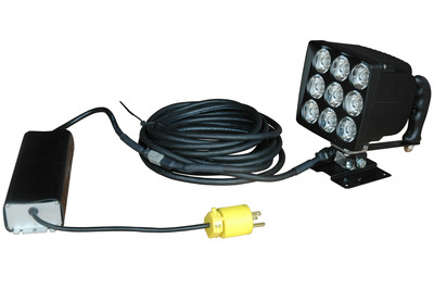 This 90 watt LED spotlight contains 9, 10-Watt LEDs producing 8,100 lumens of bright white light while drawing only 7.5 Amps on 12 Volts.  The light beam from this unit in spot configuration is approximately 2100' long by 140' in width while an optional flood configuration covers an area approximately 1,200 feet long by 450 feet wide. This unit is IP68 rate waterproof to 3 meters, sealed against ingress of dust and dirt and ideal for use in industrial, commercial and private applications.  (PRNewsFoto/Larson Electronics)