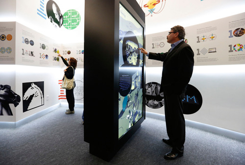 On February 20, 2013, IBM inaugurated its IBM THINK exhibit at INNOVENTIONS West at Epcot at Walt Disney World Resort.  The exhibit shows visitors how technology and systematic inquiry lead to progress and innovation. Shown here is Lee Green, IBM VP Strategic Design and Brand Experience, who designed the exhibit.  To extend the experience, IBM also announced a free app for iPad or Android tablet computers as well as free science, technology, engineering and math lesson plans for teachers on www.TeachersTryScience.org  More information can be ...