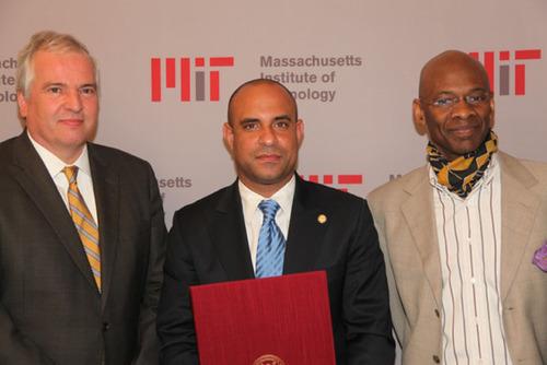 Professor Chris Kaiser, MIT Provost, Prime Minister Laurent Lamothe, Professor Michel DeGraff, Principal Investigator MIT Haiti Initiative.  (PRNewsFoto/Primature Haiti)