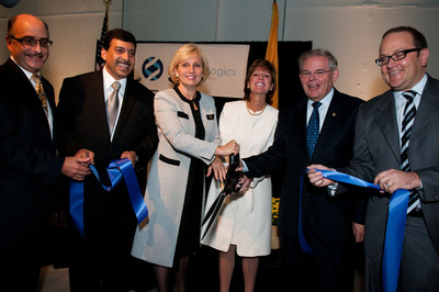 Pictured at the grand opening ribbon cutting event are (from left): Alfred Titone, U.S. Small Business Administration, New Jersey District Director; Pankaj Mohan, Ph.D., Oncobiologics, Founder & CEO; Lt. Gov. Kim Guadagno; Debbie Hart, BioNJ President; Sen. Robert Menendez; and Jeremy Caudill, Oncobiologics, Vice President Business Development.  (PRNewsFoto/Oncobiologics, Inc., Lauren Rutten)