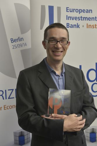 John Van Reenen, recipient of the EIB Outstanding Contribution Award 2014, Director of the Centre for Economic Performance (CEP), Professor of Economics at the London School of Economics and Political Science (LSE). Photo: Bernd Wannenmacher, FU Berlin. (PRNewsFoto/European Investment Bank)