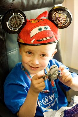 Korbin Clark of Longview, Wash., hasn't been able to do many of the things he used to before he was diagnosed with cancer. Korbin is looking forward to going to Disneyland and swimming with dolphins at SeaWorld in Calif. (PRNewsFoto/Alaska Airlines) (PRNewsFoto/ALASKA AIRLINES)