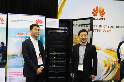 Mr. Ren Zhipeng, President of Huawei's IT Cloud Computing Division (Right) and Mr. Zhang Xiaosong, Marketing Director, Huawei's IT Cloud Computing Division (Left) shared updates of Huawei's OpenStack strategy and perspectives on cloud computing during the OpenStack Summit. (PRNewsFoto/Huawei) (PRNewsFoto/HUAWEI)