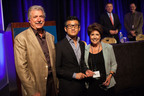 Bonnie J. Addario (right) and Tony Addario (left) present the 2013 Addario Lectureship Award to Tony Mok, MD (center) on July 26, 2013 at the 14th International Lung Cancer Congress in Huntington Beach, California. The award is presented every year by the Bonnie J. Addario Lung cancer Foundation to someone who is moving forward the advancement of lung cancer research and treatment. (Photo by Erica Kawamoto Hsu)