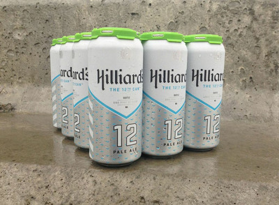 """In an auspicious twist of fate, and months before the Seattle Seahawks hit the NFL playoffs, Seattle's Hilliard's Beer crafted a one-of-a-kind, seasonal pale ale in tribute to Seattle's famous """"12th Man"""" fan base. Now, as the Seattle team preps for what the franchise hopes to be their first Super Bowl victory, Hilliard's Beer is proud to have created the ultimate football watching beer for the ultimate fans. 'The 12th Can' is the football lovers right hand can.  (PRNewsFoto/Hilliard's Beer)"""