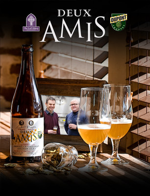 "French for ""Two Friends,"" Deux Amis commemorates the landmark collaboration between Belgium's Brewery Dupont and America's Lost Abbey Brewery."