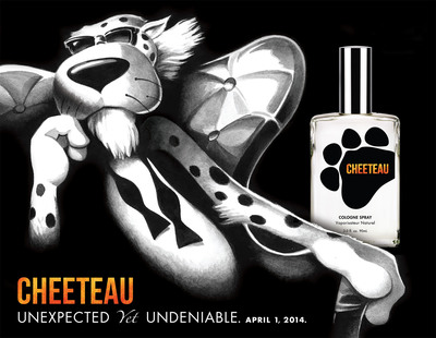 Global icon Chester Cheetah unveils Cheeteau - a cheesy new fragrance reminiscent of the popular Cheetos snack, available for a limited time beginning April 1. Fans can find out how to get their paws on a bottle by visiting www.Cheeteau.com.  (PRNewsFoto/Frito-Lay North America)