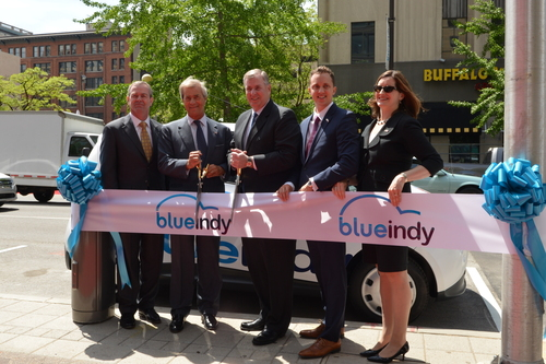 BlueIndy, largest all electric car sharing service in the United States, launched in Indianapolis today. (PRNewsFoto/Bollore Group)