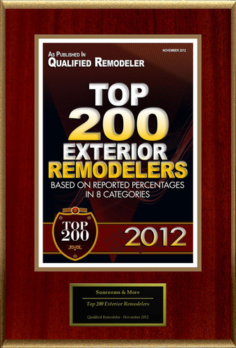 Sunrooms & More Selected For 'Top 200 Exterior Remodelers'