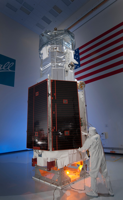 The WorldView-3 remote sensing satellite built by Ball Aerospace for DigitalGlobe has arrived at Vandenberg Air Force Base for a Mid-August launch. The WorldView-3 satellite is slated to fly aboard a United Launch Alliance Atlas 5 rocket in mid-August for DigitalGlobe, a leading provider of commercial high-resolution earth observation and advanced geospatial solutions. (PRNewsFoto/Ball Aerospace & Technologies Co)