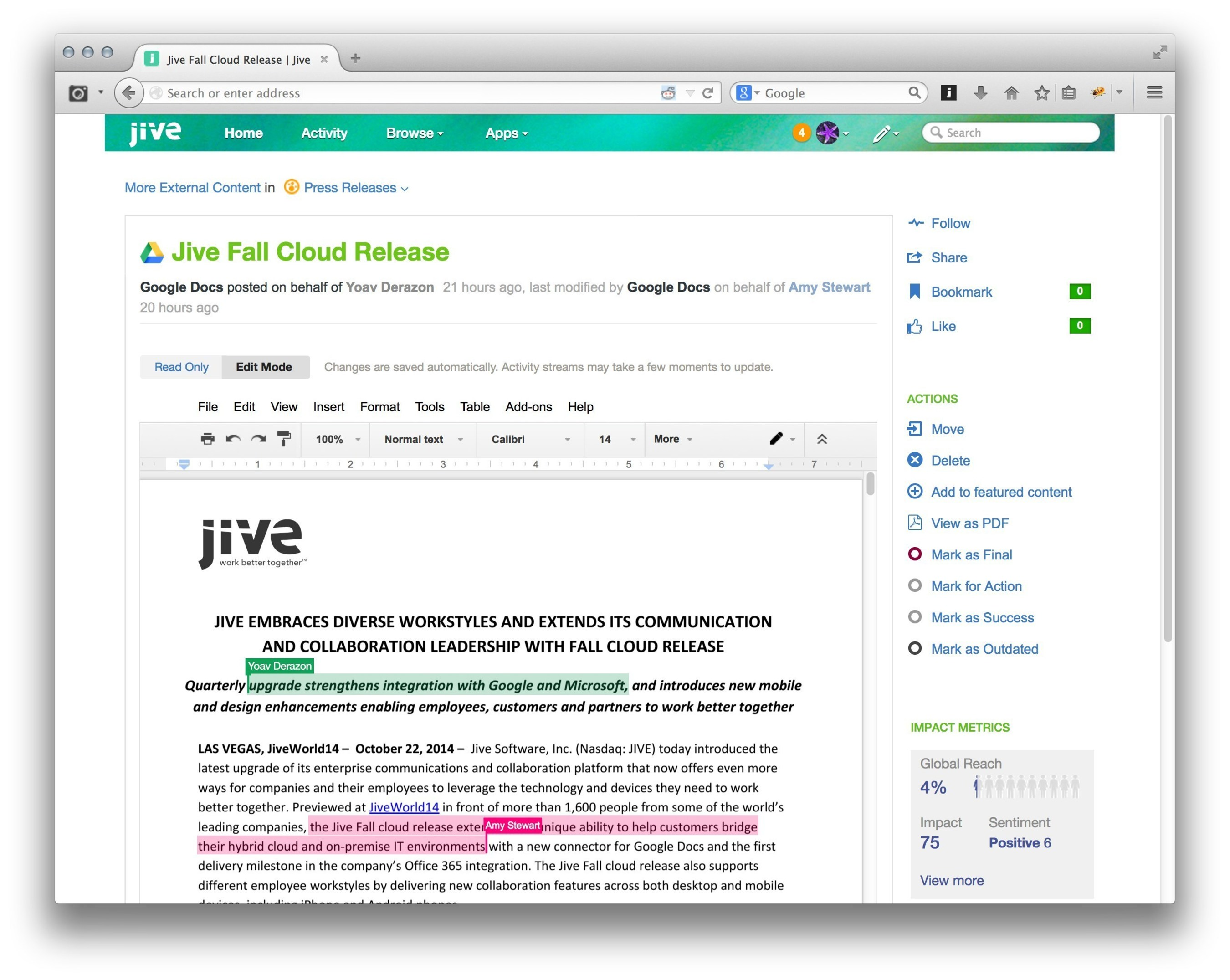 @Jivesoftware Embraces Diverse Workstyles And Extends Its Communication And Collaboration Leadership With Fall ...
