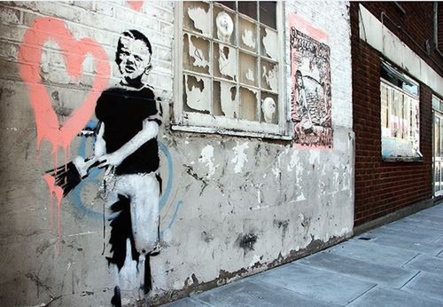 Banksy (British, 1974) Heart Boy, 2009.  Measurements: 87 in x 43 in x 18 in (220 cm x 110 cm x 45 cm).  ...