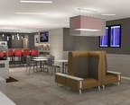 Rendering shows the future look of the Admirals Club in PHX Terminal A.