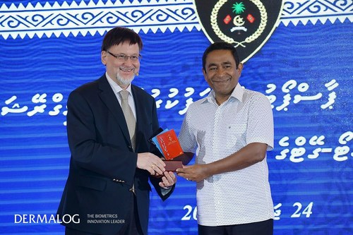 President of Maldives Abdullah Yameen Abdul Gayoom and Dermalog CEO Gunther Mull during the launch of the new ...
