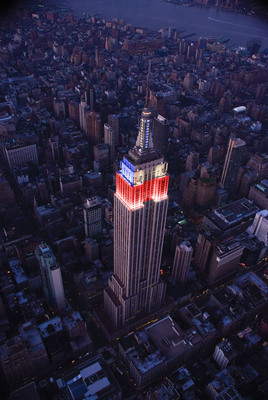 Iconic Empire State Building Illuminates Tower Lights In Celebration Of Nations Competing In London.  (PRNewsFoto/Empire State Building)