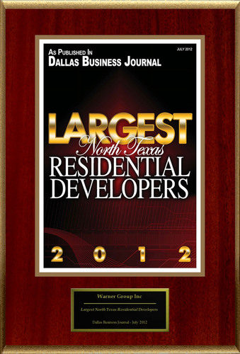 "Warner Group Inc Selected For ""Largest North Texas Residential Developers.""  (PRNewsFoto/Warner Group Inc)"