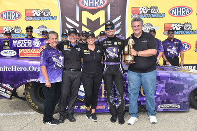 Dodge Charger R/T pilot Jack Beckman won the eighth trophy of the 2016 season for Team Mopar at the Route 66 NHRA Nationals in Chicago.