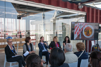 """Participants in OTA's """"Women Leading the Organic Way"""" session at Milan World's Fair. From left: Liz Neumark, Laura Batcha, Ariane Lotte, Anne Alonzo, and Monique Marez."""
